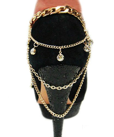 Glamorous Multi Style Chain Gold Tone Adjustable Anklet Heel Chain IHN1009G