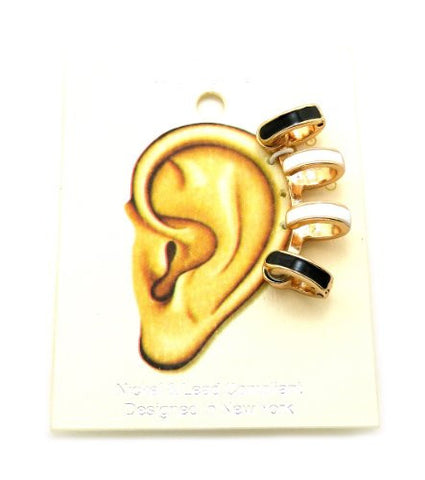 Black & White Accent Magnetic 4 Ring Ear Cuff in Gold-Tone