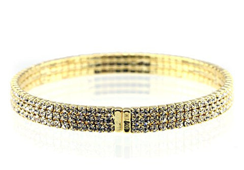 Elegant 3 Row Clear Swarovski Elements Flex Bracelet in Gold-Tone MADE IN KOREA IKB1003G