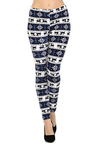 NYfashion101 Winter Fleece Lined Reindeer & Snowflake Printed Stretch Velour Leggings