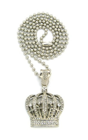 "Iced Out Silver Tone Royal Crown Pendant 3mm 27"" Ball Chain Necklace BXZ14R"