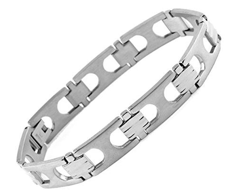 NYfashion101 Fashionable Silver-Tone Stainless Steel Chain Link Bracelet 4026