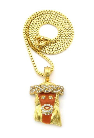 "Paved Jesus Red Accent Micro Pendant w/ 24"" Box Chain - Gold Tone MMP5GCHBX"