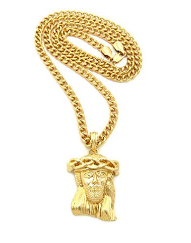 "Polished Micro Jesus Head Pendant w/ 5mm 24"" Cuban Chain Necklace in Gold-Tone"