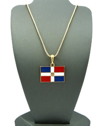 "Dominican Republic Flag Pendant with 2mm 24"" Box Chain Necklace - Gold-Tone"