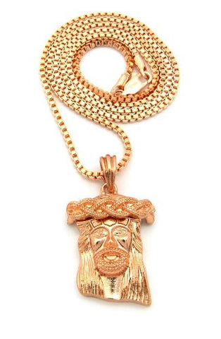 "Jesus Face Micro Pendant w/ 2mm 24"" Box Chain - Rose Gold Tone MMP24RGBX"