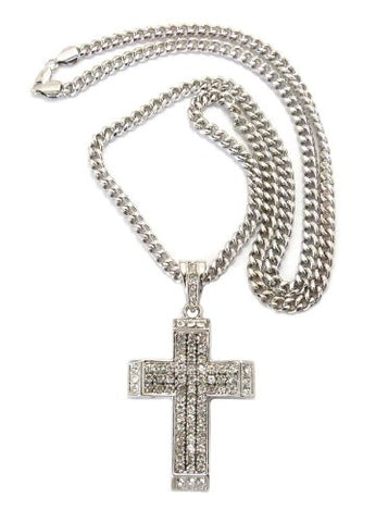 "Paved Cross Pendant in Silver Tone w/ 6mm 36"" Miami Cuban Chain CP26R"