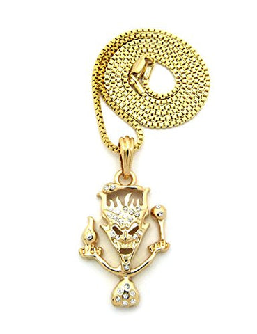 "The Amazing Jeckel Brothers Clown Hip Hop Pendant 2mm 24"" Box Chain Necklace in Gold-Tone"