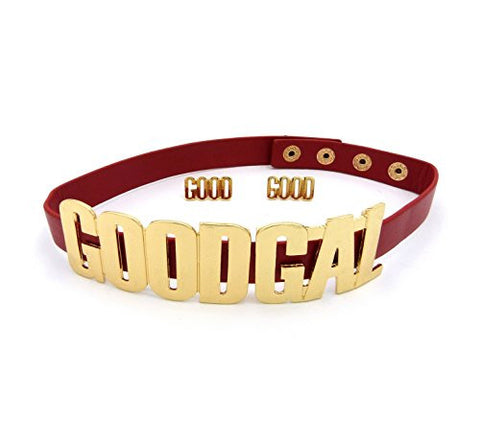 GOOD GAL Faux Leather Strap Choker Necklace with 'GOOD' Stud Earrings - Red/Gold-Tone JS1061GDRED