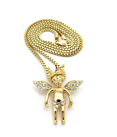 "Pave Crown Angel Micro Pendant 2mm 24"" Box Chain Necklace in Gold-Tone"