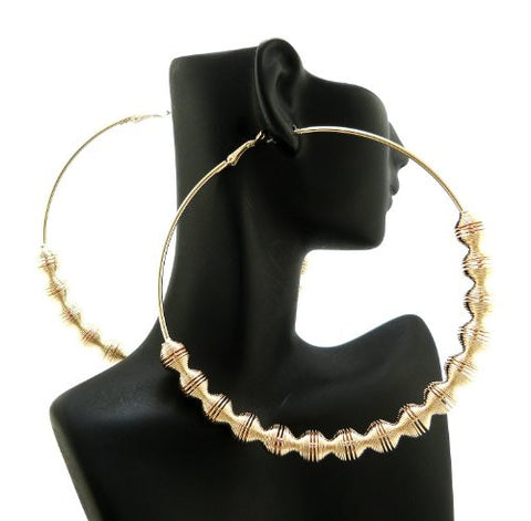 "Ridged Chain Wrap 3.85"" Big Hoop Earrings in Gold-Tone"