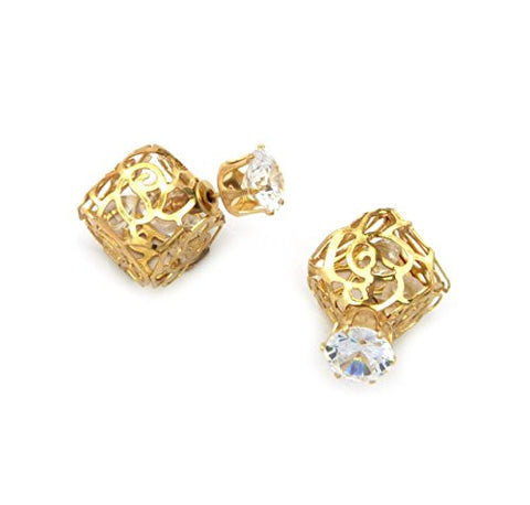 Tribal Filigree Box Round Cut Earrings