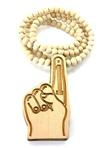 #1 Hand Sign Wood Necklace