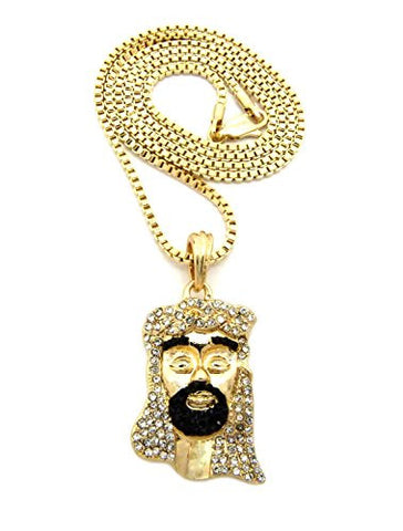 "Black Stone Bearded Jesus Face Pendant 2mm 24"" Box Chain Necklace in Gold-Tone"