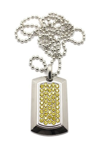 Beveled Rhinestone Dog Tag Pendant w/ Ball Chain Necklace