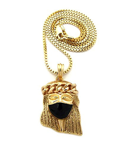 "Jet Mask Jesus Gold-Color Glitter Micro Pendant 2mm 24"" Box Chain Necklace in Gold-Tone"