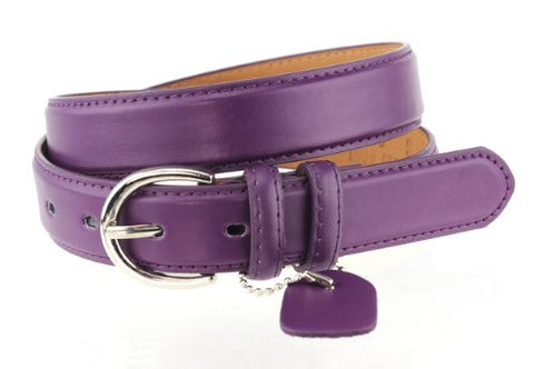 Nyfashion101 Women's Basic Leather Dressy Belt w/ Round Buckle H001-Purple-S