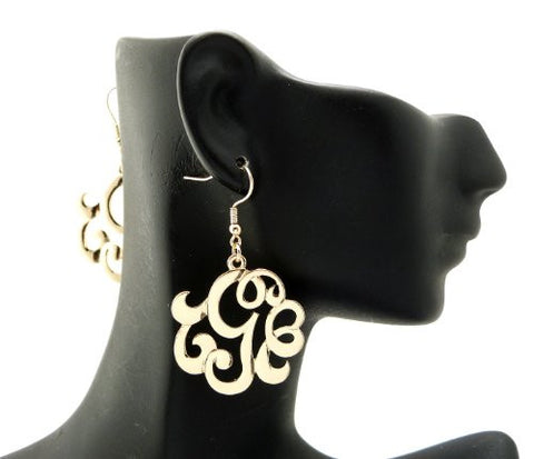 Initial Letter G Celebrity Style Monogram Earrings in Gold-Tone