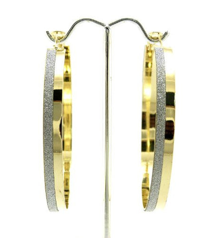 "Shimmer Accent 2.50"" Hoop Earrings in Gold-Tone"