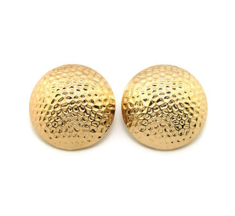 Hammered Half Ball Stud Earrings in Gold-Tone