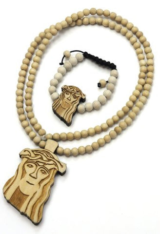 Wooden Jesus Face Charm Bundled 2 Piece Jewelry Set
