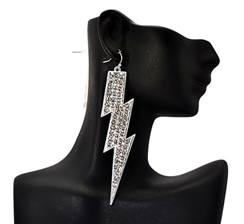 Rhinestone Thunder Spike Drop Earrings in Silver-Tone