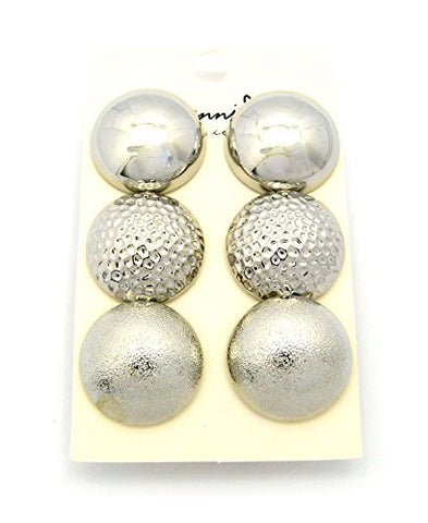 Multi-Style Half Ball Fashion Stud Earrings 3 Piece Set in Silver Tone JE1029RD