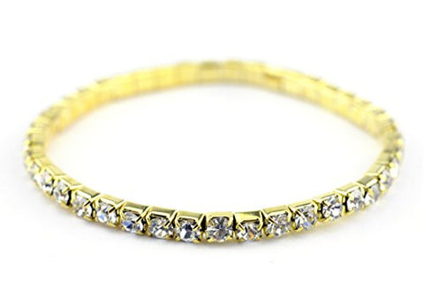 Single Row Rhinestone Stretch Bracelet in Gold-Tone KB4344G