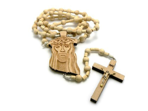 Jesus Face And Crucifix Cross Pendant Wood Rosary Necklace In Natural Tone