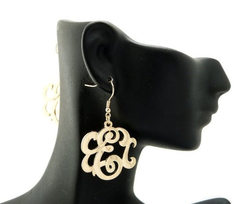 Initial Letter E Celebrity Style Monogram Earrings in Gold-Tone