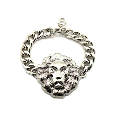Celebrity Style Lion Head Charm Chain Bracelet in Silver-Tone BLQ157R