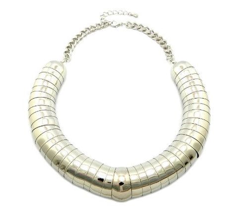 "Very Thick Silver Color 23mm 18"" Rounded Up Slinky Chain Necklace CN1002RD"