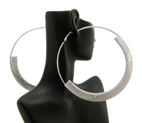 "Flat Omega Chain Wrap 3.85"" Hoop Earrings in Silver-Tone"
