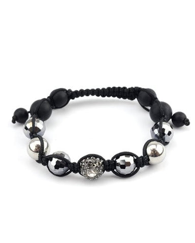 Hematite Encrusted Ball Accent Faux Glass Bead Shamballa Bracelet MHB90HE