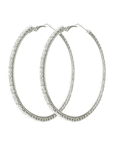 Clear Rhinestone Pave Hoop Earrings