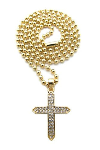Pave Edged Cross Pendant Necklace