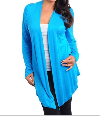 NYfashion101 Open Front Long Sleeve Top w/Lace Back Plus Sizes Turquoise