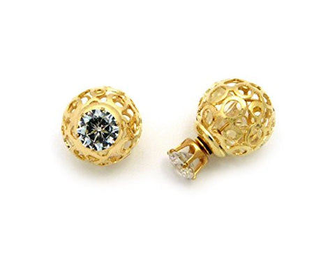Tribal Ball Filigree Round Cut Earrings