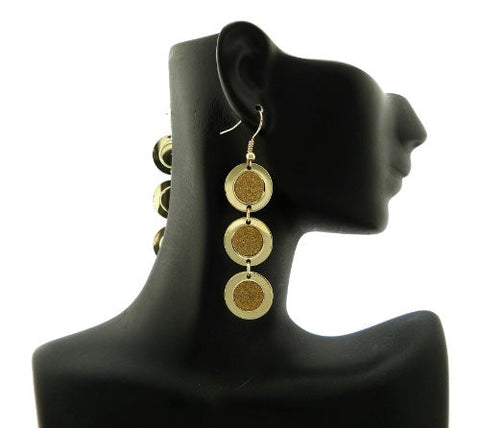 Shimmer Circle Drop Earrings in Gold-Tone