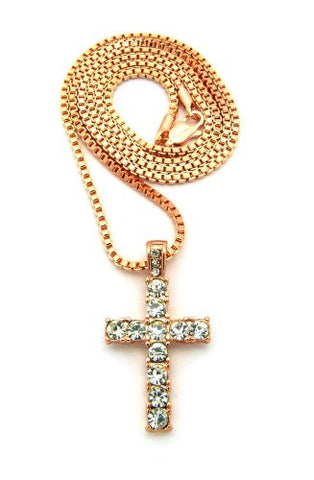 "Mini Pave Cross Pendant 24"" Box Chain Necklace in Rose Gold-Tone MMP14RGBX"