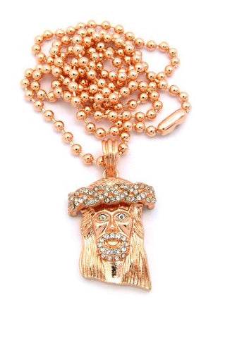 "Pave Jesus Face Micro Pendant w/ 27"" Ball Chain in Rose Gold Tone MMP5RG"