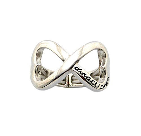Heart Shape Infinity Loop Directioner® Fans Stretch Ring in Black/Silver-Tone XR35RBK