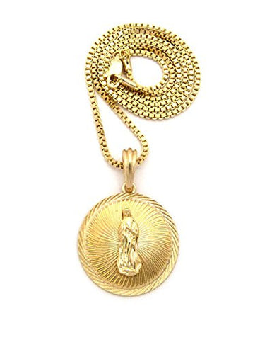 "Embellished Saint Mary Medal Pendant w/ 2mm 24"" Box Chain Necklace in Gold-Tone"