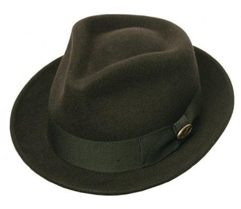 Men's Wool Felt Fedora Hat with Lining - Black- X-Large
