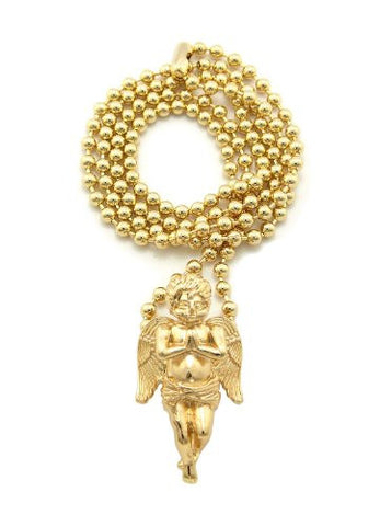"Very Rare Trendy Mini Micro Angel Pendant w/3mm 27"" Ball Chain Necklace Gold Color MMP3G"