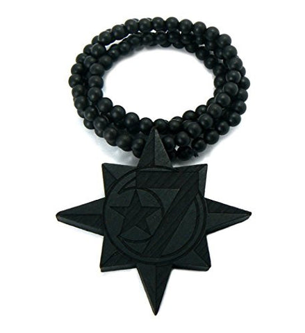 5 Percenter Star Wood Pendant Necklace