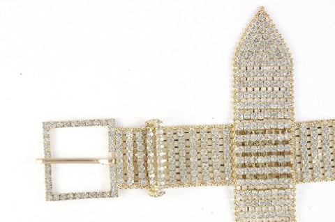 NYfashion101 8 Row Rhinestone Dress Chain Belt Gold - One Size Fits Most CB7718G