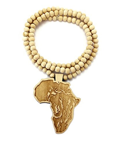 Lion engraved africa wood pendant 36 wooden bead chain necklace in lion engraved africa wood pendant 36 wooden bead chain necklace in natural tone wj192nl mozeypictures Choice Image
