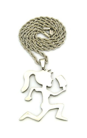 "Hatchetgirl Pendant with 24"" Stainless Steel Rope Chain Necklace in Silver-Tone RC242SS"