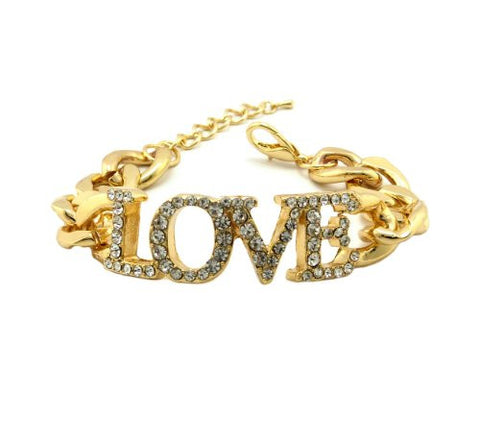 "Pave LOVE Charm 7.25"" Chain Bracelet in Gold-Tone"